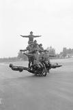 Twelve Policemen Riding One Motorcycle Photographic Print