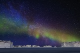 Aurora Borealis or Northern Lights over Icebergs Photographic Print by  Arctic-Images