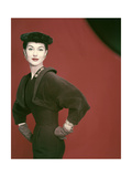 Model Nancy Berg Wearing a Brown Velvety Wool Dress by Adele Simpson Regular Giclee Print by Erwin Blumenfeld