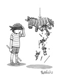 A boy watches as the piñata he just hit drops Trojan soldiers from its tor... - New Yorker Cartoon Premium Giclee Print by Liam Walsh