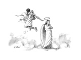 G-d slam dunks on an angel's halo.  - New Yorker Cartoon Premium Giclee Print by Will McPhail