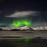 Aurora Borealis over Mt Hoffell, Hoffellsjokul Glacier, Iceland Photographic Print by  Arctic-Images
