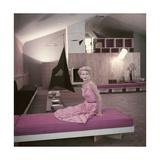 Model Sunny Harnett Seated in Architect Jos-Luis Sert's House Regular Giclee Print by John Rawlings