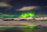 Aurora Borealis over Mt Hoffell, Hoffellsjokul Glacier, Iceland Photographic Print by  Arctic-Images