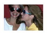 Close-Up on Two Models with Smiles, a Pair of Red Plastic Bon-Lon Sunglasses by Bonneau Premium Giclee Print by Jacques Malignon