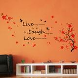 Live Laugh Love Cherry Blossoms - Duvar Çıkartması
