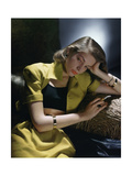 Actress Lauren Bacall Wearing Yellow Bare-Midriff Suit with Black Halter from B. H. Wragge Regular Giclee Print by John Rawlings