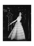 Model Wearing Tiered Tulle Gown Ringed with Black Grosgrain by Balmain Regular Giclee Print by Henry Clarke