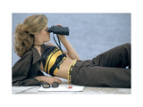 Model Is Reclining Wearing Brown Pant Suit with Yellow and Brown Halter by Ken Scott Premium Giclee Print by Gianni Penati