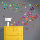 Flat and 3D Butterfly Collection Kalkomania ścienna