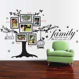Photo Frame Birdcage and Family Quote - Duvar Çıkartması