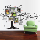 Photo Frame Birdcage and Family Quote Muursticker