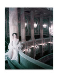 Model in White Tulle Dress with Spangles and Stole in the Theater of King Louis Xv at Versailles Regular Giclee Print by Henry Clarke