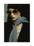 Model Wearing Big Amber Riviera Glasses, Fuzzy Mohair Cap by Irving Paul for Capodors Regular Giclee Print by Bob Stone