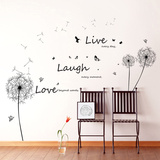 Live Laugh Love Dandelions Kalkomania ścienna