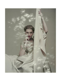 Model Seated in Silk Taffeta Dress, Holding Yards of Silk, by Ducharne and C. M. Gourdon Giclee Print by Herbert Matter