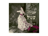 Model Wearing Fath's Rose Print Evening Dress of Satin Stripped Silk Organdie Regular Giclee Print by Henry Clarke