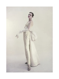 Photo of Model Wearing Strapless Long Ballgown with Long Gloves Regular Giclee Print by Roger Prigent