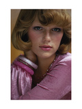 Duplicate- Head Shot of Model Patti Hansen Wearing Pink Alley Cat by Betsey Johnson Regular Giclee Print by Rico Puhlmann