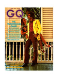 Couple on Porch, Male Model Wearing an Esquire Sportswear Corduroy Suit Regular Giclee Print by Morgan Rank