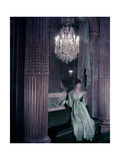 Model in Gold Embroidered Turquoise Lanvin-Castillo Dress in the Theater of King Louis Xv Giclee Print by Henry Clarke