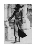 Model Wearing a Belted Valentino Wool Coat with Positano Foulard Design Regular Giclee Print by Henry Clarke