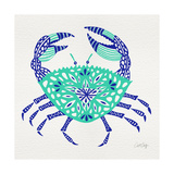 Crab in Turquoise and Navy Giclee Print by Cat Coquillette
