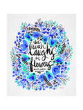 Laughs i Flowers – Blue Palette Giclee Print by Cat Coquillette
