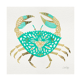 Crab in Gold and Turquoise Giclee Print by Cat Coquillette