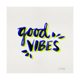 Good Vibes - Navy and Yellow Ink Giclee Print by Cat Coquillette