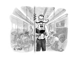 A man's elaborate mustache curls around a subway pole, allowing him to rea... - New Yorker Cartoon Premium Giclee Print by Will McPhail