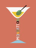 Stylish Cocktails - Manhattan Giclee Print by Sophie Ledesma