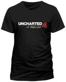 Uncharted 4- Distressed Logo (Slim Fit) Magliette