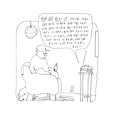 """A man listens to the radio, which describes a game as """"he hits it, and the... - New Yorker Cartoon Premium Giclee Print by Liana Finck"""