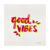 Good Vibes - Pink and Yellow Ink Giclee Print by Cat Coquillette