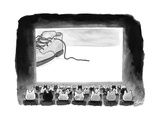 A movie theater audience of all cats watches a zoomed in shot of a sneaker... - New Yorker Cartoon Premium Giclee Print by Tom Toro