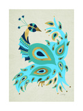 Peacock in Gold and Turquoise Giclee Print by Cat Coquillette