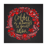 Coffee - Red and Gold on Black Giclee Print by Cat Coquillette
