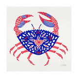Crab in Red and Navy Giclee Print by Cat Coquillette