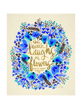 Laughs i Flowers – Blue and GoldPalette Giclee Print by Cat Coquillette