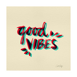 Good Vibes - Red and Cyan Ink Giclee Print by Cat Coquillette