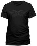 Aerosmith- Black On Black Wings Logo (Slim Fit) Camisetas
