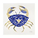Crab in Navy and Gold Giclee Print by Cat Coquillette