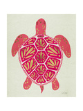 Sea Turtle in Pink and Gold Giclée-tryk af Cat Coquillette
