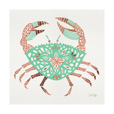 Crab in Rose Gold and Mint Giclee Print by Cat Coquillette