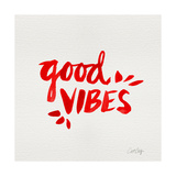 Good Vibes - Red Ink Giclee Print by Cat Coquillette