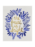 Future is Bright - Navy and Gold Giclee Print by Cat Coquillette
