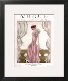 Vogue Cover - April 1923 - Pink Evening Gown Art Print by Georges Lepape