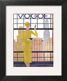 Vogue Cover - May 1928 - City View Poster by Georges Lepape