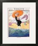 Vogue Cover - July 1919 - Seaside Stroll Art Print by Helen Dryden
